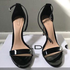 Aldo Scorzarolo Black Patent Faux Heeled Sandal.